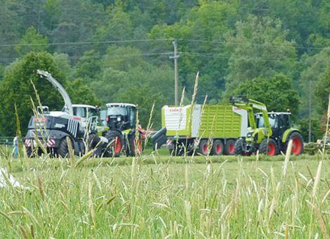 """Firma Claas aus Harsewinkel hat bei ihrer Vorführtour durch Deutschland mit dem Titel """"Powerfrühling 2013"""" vom 28. Mai bis 13. Juni zusammen mit seinen Vertriebspartnern in den Regionen zu Grünlandpraxistagen  geladen. Das Unternehmen zeigte an sieben Standorten bundesweit sowie in Luxemburg Claas-Traktoren, Lenksysteme und Futtererntetechnik im Einsatz. Landwirte und Lohnunternehmer konnten sich ausführlich über das komplette Traktoren- und Futtererntemaschinenprogramm des Landmaschinenherstellers vom Mähwerk über Schwader, Wender, Pressen, Kombiwagen bis zum Teleskoplader informieren und sich ein eigenes Bild von der Leistung und Arbeitsqualität machen. Allein drei der insgesamt sieben bundesweiten Veranstaltungen zum """"Powerfrühling"""" fanden in Hessen statt: Am 5. Juni in Schwarzenborn, 7. Juni in Ulrichstein-Rebgeshain sowie am 11. Juni in Korbach-Meineringhausen. Text/Foto: Claas"""