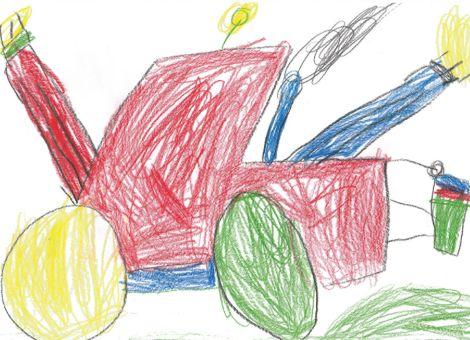 Jonas (6 Jahre) aus Gilserberg-Sebbeterode hat dieses tolle Bild gemalt. Ihr seht darauf einen  Schlepper mit Ballenheber und Frontgewicht.