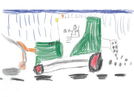 Sehr gefallen hat uns auch dieses Bild von Lias (7 Jahre) aus Poppenhausen-Steinwand. Es zeigt ihn selbst, wie er in einem Fendt 516 für den Winterdienst mit Schneefräse und Salzstreuer unterwegs ist.