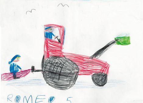 Romeo aus Schrecksbach-Holzburg ist 5 Jahre alt und hat dieses tolle Winterbild gemalt. Es zeigt ihn selbst auf dem Schlitten, wie er von seinem Opa im Traktor vorsichtig über den Schnee gezogen wird.