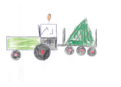Paul (7 Jahre) aus Gudensberg hat uns dieses tolle Kunstwerk zugeschickt. Es zeigt einen Traktor von Fendt mit einem Anhänger voller Kohlköpfe.